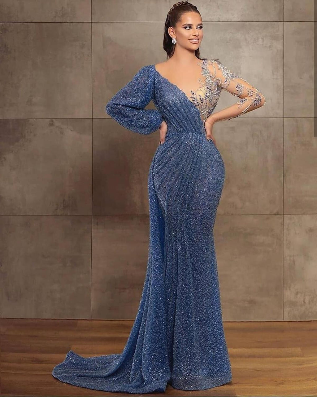Party special occasion gown robe de soiree vestidos formales elegant bling bling beads evening dresses blue gown for parties
