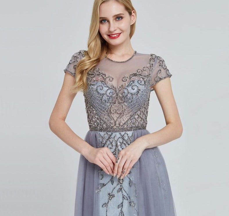 Crystal Short Sleeve Evening Dress Design 2020 Luxury Mermaid Sexy Formal Party Gown - LiveTrendsX