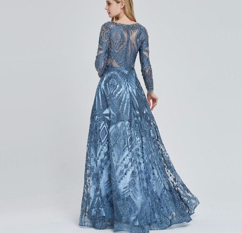 Dubai Luxury Long Sleeves Evening Dress 2020 Navy Blue O-Neck Crystal Formal Party Gown Design Plus Size