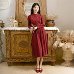 new fashion women's clothing Vintage red autumn long sleeve dress women dress - LiveTrendsX
