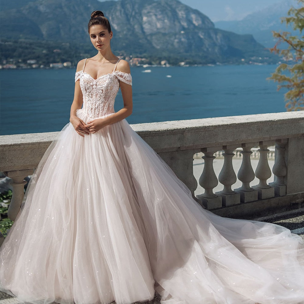 Gorgeous Beading Lace Tulle Wedding Dresses With 2 Sleeve style for Choose  Shoulder Straps Lace Up Princess Gowns