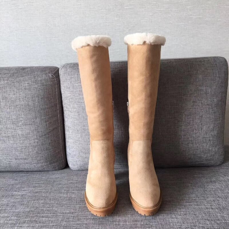 woman ladies water platform high suede leather knee boots long winter snow boots