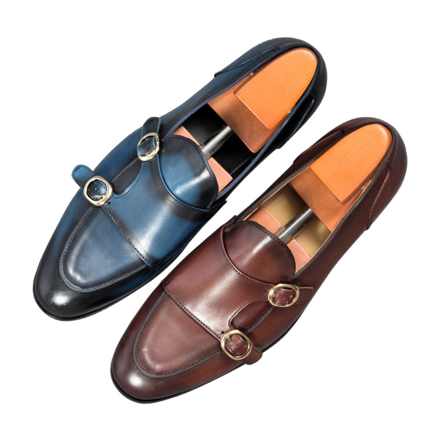 Genuine Leather Mens Casual Shoes Brown Blue Color Office Business Oxford  Double Buckle Strap Italy Style Shoe - LiveTrendsX