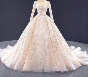 Champagne Sequin Beading O-Neck Wedding Dresses 2020 Long Sleeves Lace Up Long Train Bridal Gowns  Cusotm Made - LiveTrendsX