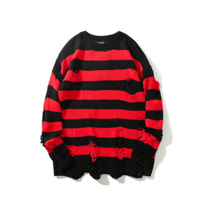 Black Red Striped Sweaters Washed Destroyed Ripped Sweater Men Hole Knit Jumpers Men Women Oversized Sweater Harajuku - LiveTrendsX
