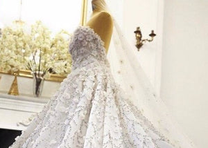Luxury Wedding Dress 2021 Full Heavy Beading 3D Flower Sparkle Bride Dress - LiveTrendsX