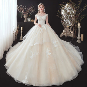 Shiny Beading Appliques Lace Luxury Ball Gown Wedding Dress Cap Sleeve Chapel Train Princess Bridal Gowns - LiveTrendsX