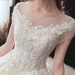 Shiny Beading Appliques Lace Luxury Ball Gown Wedding Dress Cap Sleeve Chapel Train Princess Bridal Gowns