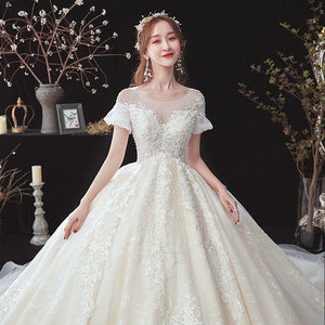 Beading Appliques Lace Short Sleeve High Waist Princess Ball Gown Wedding Dress For Pregnancy Brides Plus Size