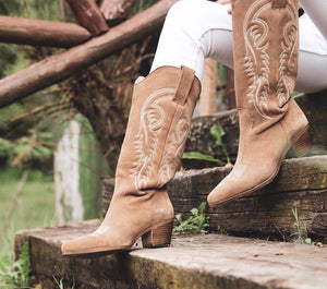 Western Cowboy Boots for Women Pointed Toe Women's Shoes Brand Embossing Suede Leather Shoes Mid-calf Chunky Wedges Boot - LiveTrendsX