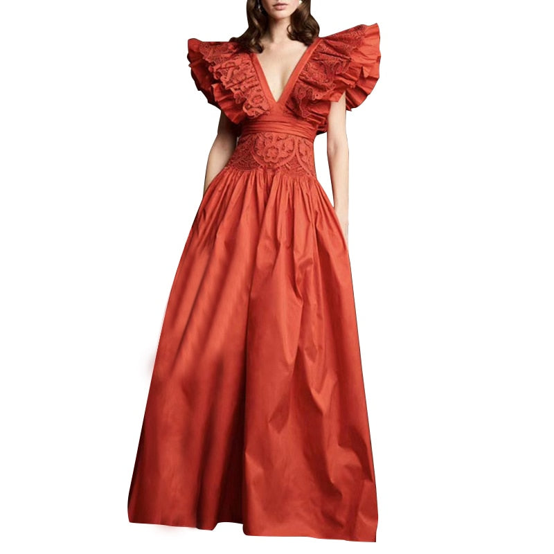 Sexy Lace Patchwork Ruffle Dress For Women V Neck Sleeveless High Waist Maxi Dresses Female 2020 Summer Fashion New
