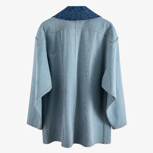 Casual Denim Coat For Women Notched Long Sleeve Button Patchwork Tassel Loose Oversized Coats Female 2020 Fashion