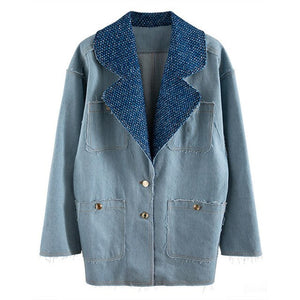 Casual Denim Coat For Women Notched Long Sleeve Button Patchwork Tassel Loose Oversized Coats Female 2020 Fashion - LiveTrendsX