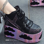 High Platform Cloud Sneakers Wedges Bling Bling Spice Girl Shoes Sky Platform Sneakers Laces High Heel Shoes Casual Street Shoes - LiveTrendsX