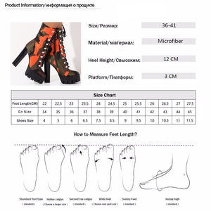 Lace Up Chunky Heel Platform Bootie Camouflage Print Round Toe Block Heel Boots Mid Calf Shaft Winter Boots Women Night Club