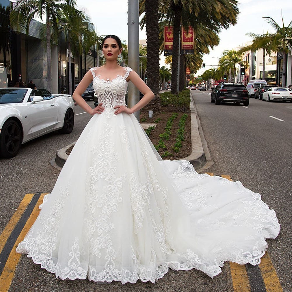 Pearls Appliques Flowers Gorgeous Ball Gown Wedding Dresses With Chapel Train Casamento See Through Sexy Bridal Dress Plus Size - LiveTrendsX