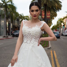 Load image into Gallery viewer, Pearls Appliques Flowers Gorgeous Ball Gown Wedding Dresses With Chapel Train Casamento See Through Sexy Bridal Dress Plus Size - LiveTrendsX
