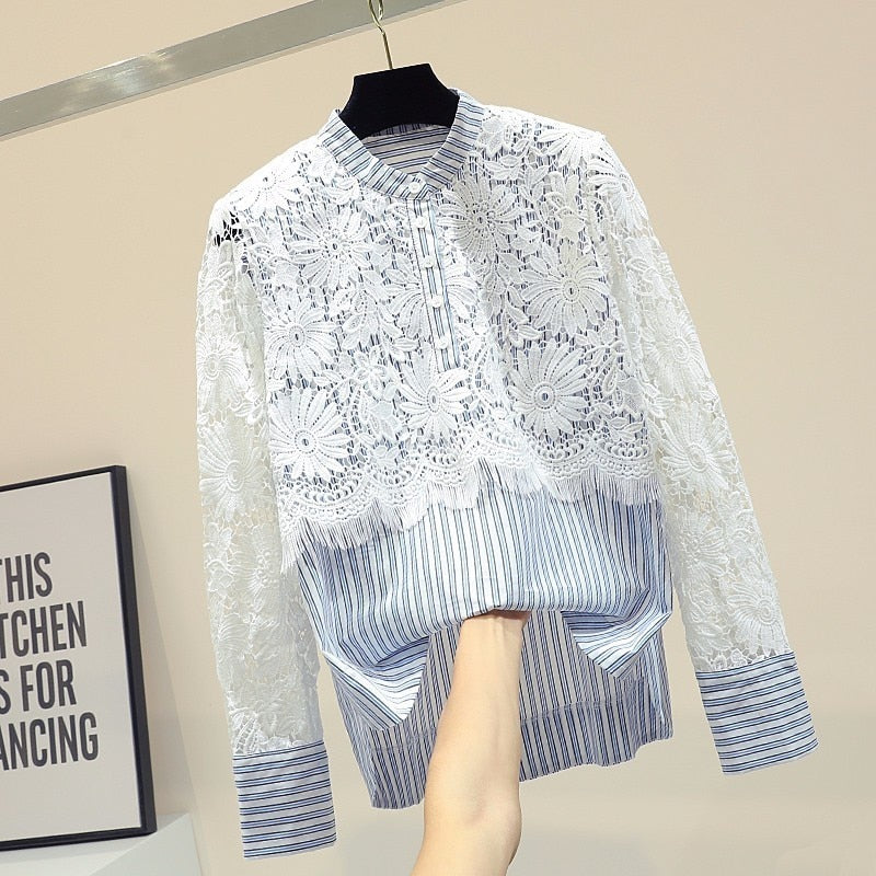 Loose cute lace hollow out floral blouse women o-neck striped shirt top 2020 autumn new arrival