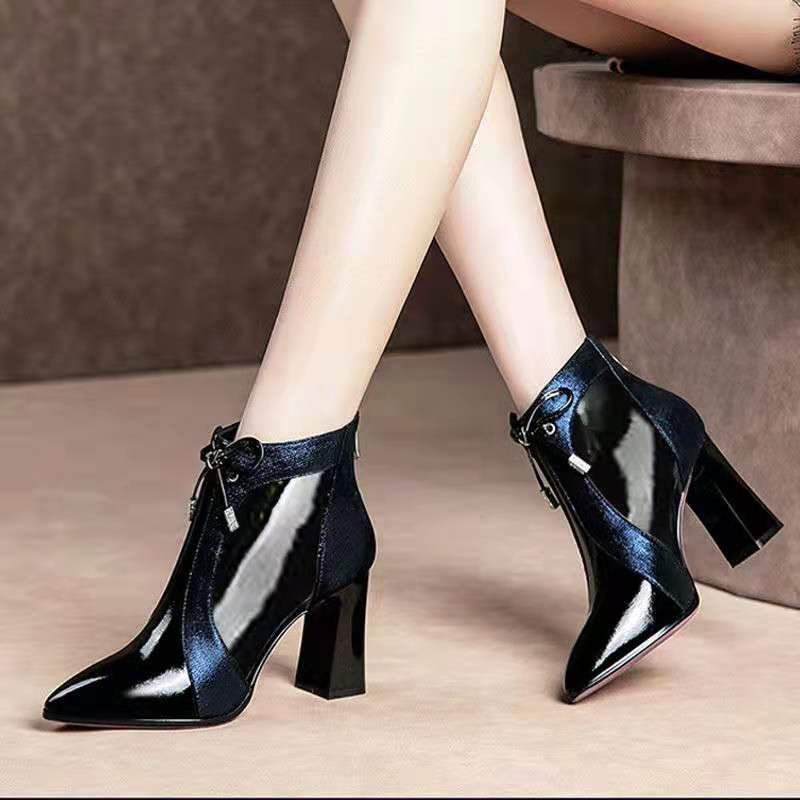 Women's Booties High Heeled Ankle Boots Woman Spring/Autumn Martin Boot Warm Shoes Pointed toe Thick Heel Color Matching Blue