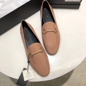 Withered 2020shoes women england style office lady simple solid genuine leather Sheepskin soft Lok shoes loafers shoes for women