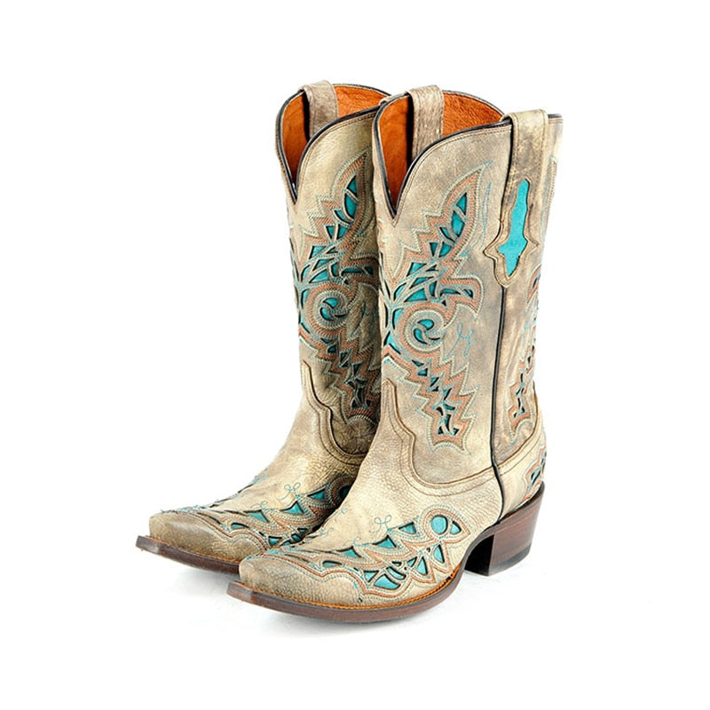 women western cowboy half boots top cow leather handmade embroider patchwork high heels motorcycle corral mid-calf boots - LiveTrendsX