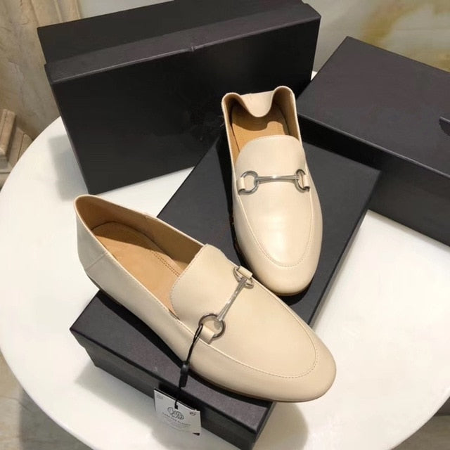 Withered 2020 summer england office lady simple Genuine leather slip-on loafers women shoes woman women shoes women flat shoes
