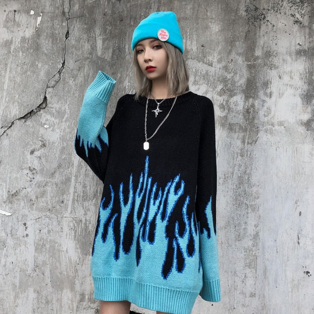 Couple Sweater Harajuku Hip Hop Flame Fire Sweaters Knit 2020 Autumn Winter Man Women Outfits Loose Pullover Fashion Tops Unisex