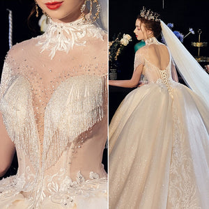 Custom Made All Over Shiny Beading Gorgeous Ball Gown Wedding Dresses Plus Size Alibaba China Vestido De Noiva Princesa