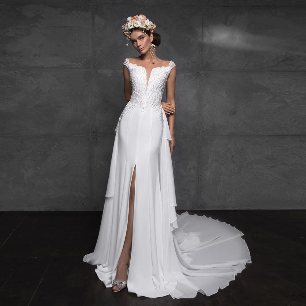 Sexy Skirt Slit Appliques Beading Satin 2 Pieces Mermaid Wedding Gown With Removable Tail White Bridal Dress