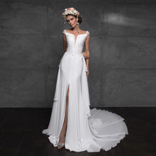 Load image into Gallery viewer, Sexy Skirt Slit Appliques Beading Satin 2 Pieces Mermaid Wedding Gown With Removable Tail White Bridal Dress - LiveTrendsX