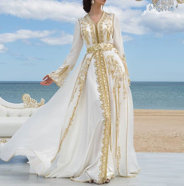 White Chiffon Luxury Evening Dresses Golden Lace Appliques Moroccan Kaftan Dubai Mother Dress Arabic Muslim Special Occasion