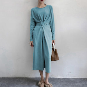 Women Long Sleeve Split Knitted A-line Midi Dress High Waist Bandage Lace Up Female New Year Dresses 2020 Autumn O-Neck Clothes