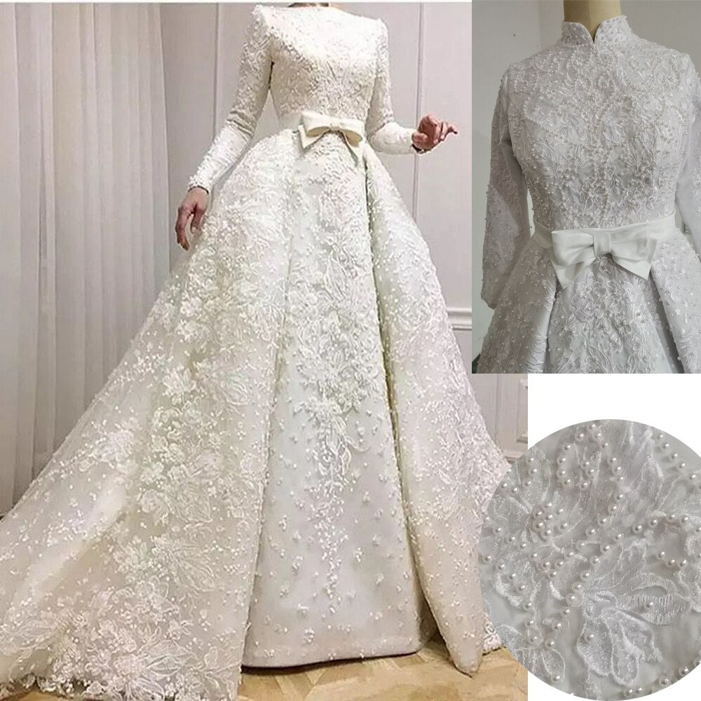 Long Sleeve Muslim wedding dress A Line Lace Appliques Modest Bridal Gown Dresses Pearls High neck conservative wedding dresses - LiveTrendsX