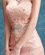 sexy sweetheart pink lace mermaid Evening Dress  robe de soiree vestido longo crystal long prom dresses Formal gown - LiveTrendsX