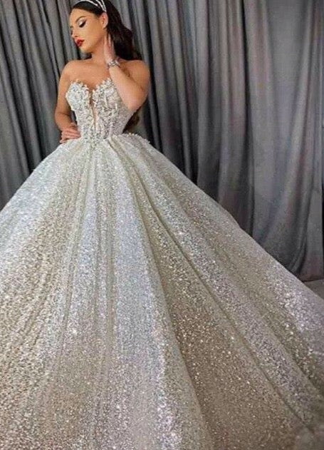 Sparkle Glitter Ball Gown Wedding Dresses 3D Flower Beading Turkish Robe De Soiree Bridal Dress 2020 Saudi Arabic Wedding Gowns - LiveTrendsX