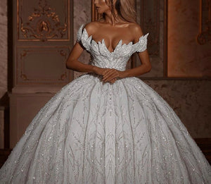 Glitter Off Shoulder Ball Gown Wedding Dresses 2020 Luxury Sparkly Bridal Gowns with Long Train - LiveTrendsX