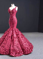 Real Photo Drak Red Luxury 3D Flower Pearl Beaded Sexy Wedding Dresses 2020 Dubai Mermaid Sweetheart Bridal Dress Free Veil - LiveTrendsX