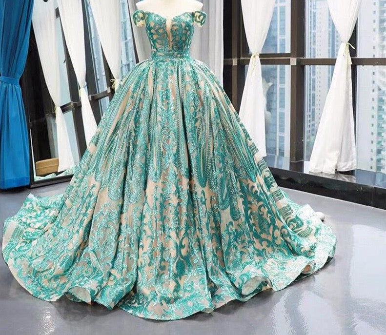 Luxury Green Skin Tulle Sequined Sexy Arabic Evening Gowns 2020 Plus Size Evening Dresses - LiveTrendsX