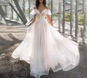 Boho Lace Pink Wedding Dress New Sweetheart Off Shoulder Appliques A-Line Illusion Princess Bride - LiveTrendsX