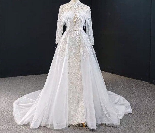 Luxury Beaded Pearl Lace Feather Mermaid Wedding Dress Real Image 2020 Detachable Train Full Sleeve Bridal Gown