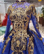 Glitter Blue Ball Gowns Evening Gowns for Women Wear Lace Dubai Kaftans Moroccan Real Photos Engagement Formal Gowns 2020 - LiveTrendsX