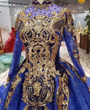 Glitter Blue Ball Gowns Evening Gowns for Women Wear Lace Dubai Kaftans Moroccan Real Photos Engagement Formal Gowns 2020