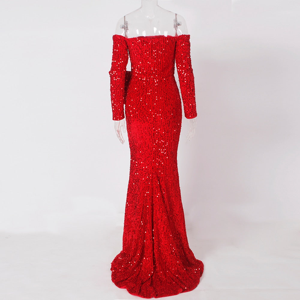 Red Sequined Velert Evening Party Dress Bow Split Leg Slit Front Cut Out Off the Shoulder Slash Neck Stretch Maxi Dress - LiveTrendsX
