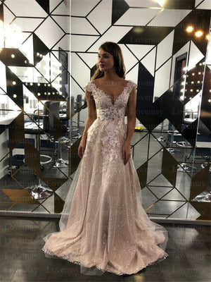 Champagne Glitter A Line Wedding Dresses 2021 Cap Sleeves Lace Appliques Sparkling Bridal Gown