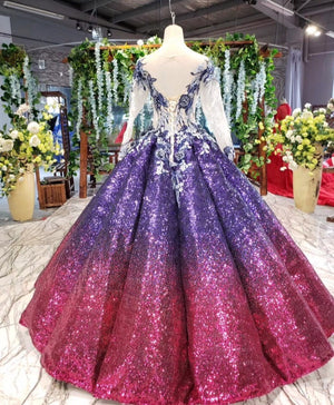 Gradient Color Sequined Ball Gowns Prom Dresses 2020 Real Photos Long Sleeves Lace Crystals Puffy Event Pageant Party for Women