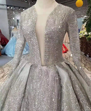 Silver Glitter Long Sleeves Ball Gowns Evening Dresses for Women 2020 Colorful Sparkling Event Formal Prom Party for Women