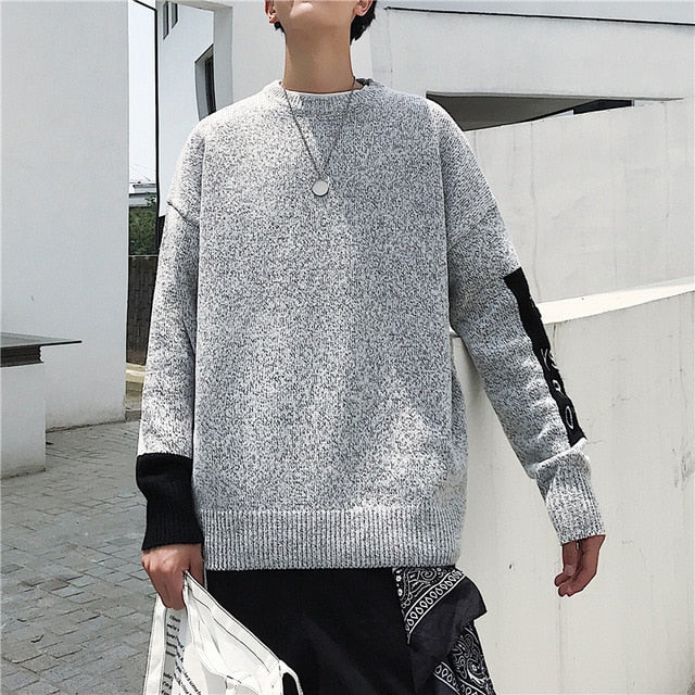 Korean Men's O neck Long Sleeve Sweaters 2020 Autumn Man Casual Knitted Pullovers Warm Tops Oversized Male Clothes - LiveTrendsX