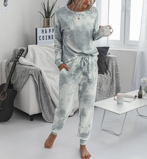 Women Suits Leisure Home Wear Suit Spring Autumn Long Sleeve O-neck Tops+Lace-up Long Pants 2 Piece Sets