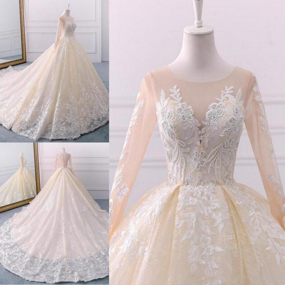 Vintage Chamagne  Real Lace Wedding Dresses Jewel Neck Long Sleeve Zipper Bridal Gown Arabic Bridal Wedding Gowns - LiveTrendsX
