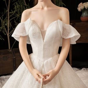 Lace Wedding Dresses Off The Shoulder Appliques Bride Dress Princess Wedding Gown - LiveTrendsX